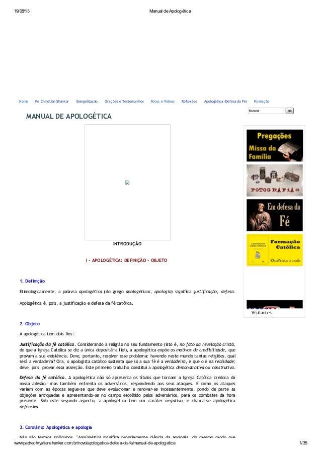 19/08/13 Manual de Apologética www.padrechrystianshankar.com.br/novo/apologetica-defesa-da-fe/manual-de-apologetica 1/35 M...