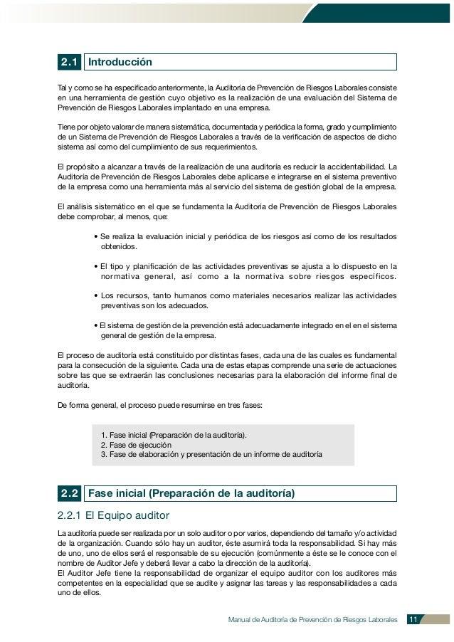 2.1 Introducción Tal y como se ha especificado anteriormente, la Auditoría de Prevención de Riesgos Laborales consiste en ...