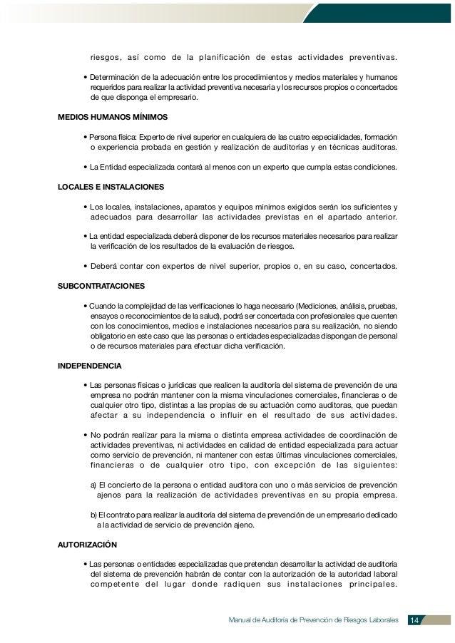 Manual de Auditoría de Prevención de Riesgos Laborales 14 riesgos, así como de la planificación de estas actividades preve...