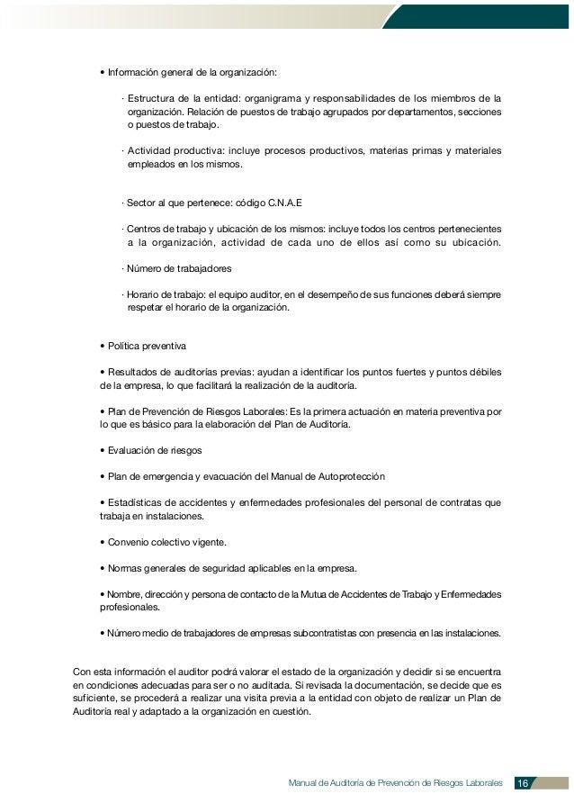 Manual de Auditoría de Prevención de Riesgos Laborales 16 • Información general de la organización: · Estructura de la ent...