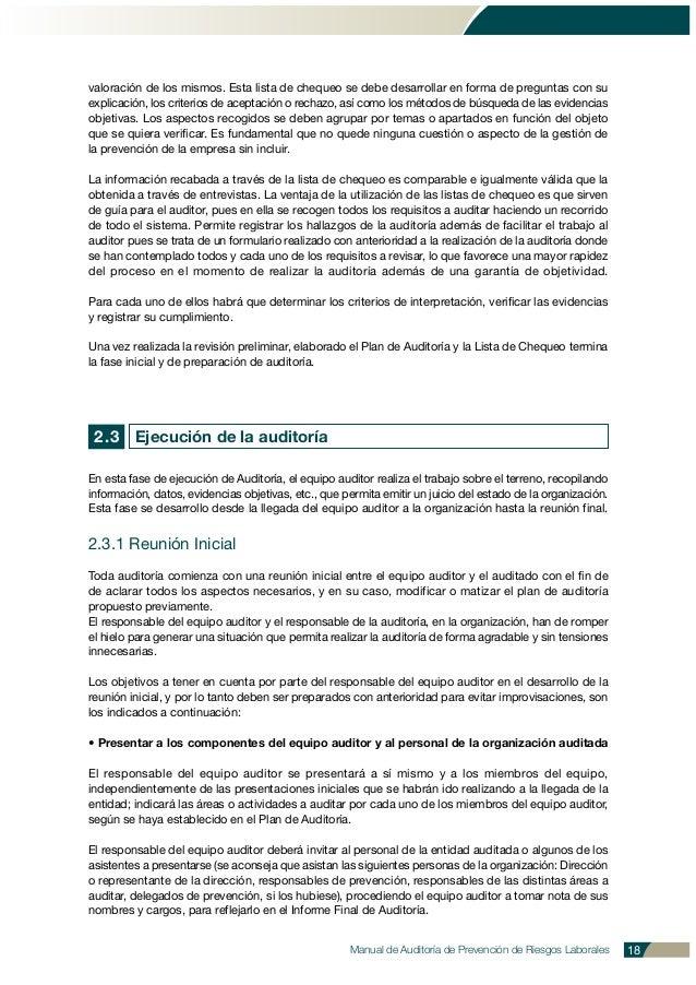Manual de Auditoría de Prevención de Riesgos Laborales 18 valoración de los mismos. Esta lista de chequeo se debe desarrol...