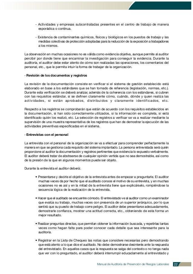 Manual de Auditoría de Prevención de Riesgos Laborales 22 - Actividades y empresas subcontratadas presentes en el centro d...