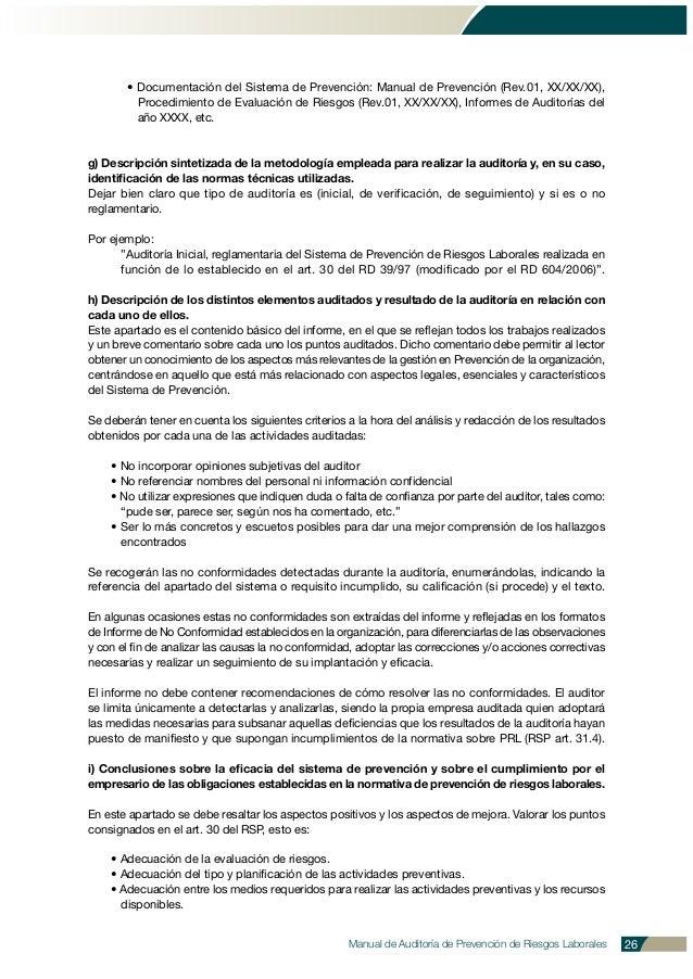 Manual de Auditoría de Prevención de Riesgos Laborales 26 • Documentación del Sistema de Prevención: Manual de Prevención ...