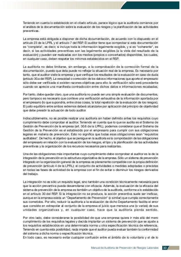 Manual de Auditoría de Prevención de Riesgos Laborales 30 Teniendo en cuenta lo establecido en el citado artículo, parece ...