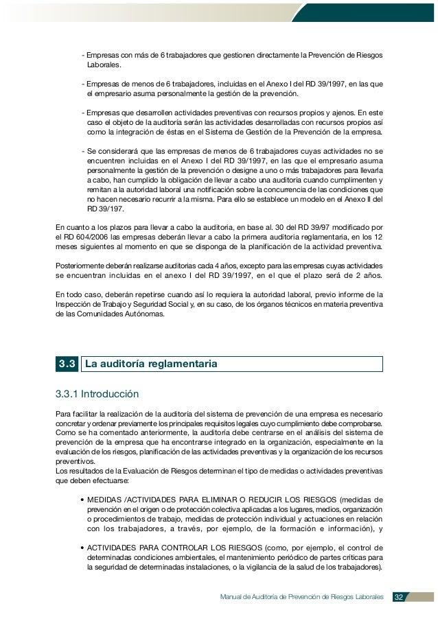 Manual de Auditoría de Prevención de Riesgos Laborales 32 - Empresas con más de 6 trabajadores que gestionen directamente ...