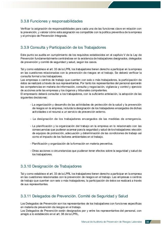 Manual de Auditoría de Prevención de Riesgos Laborales 36 3.3.8 Funciones y responsabilidades Verificar la asignación de r...