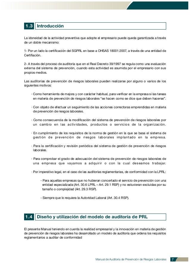 Manual de Auditoría de Prevención de Riesgos Laborales 7 La idoneidad de la actividad preventiva que adopte el empresario ...