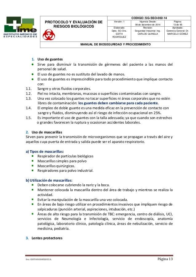 Manual de bioseguridad ime 2014