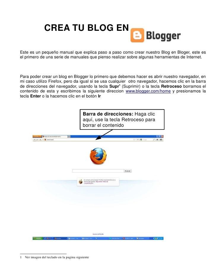 CREA TU BLOG ENEste es un pequeño manual que explica paso a paso como crear nuestro Blog en Bloger, este esel primero de u...
