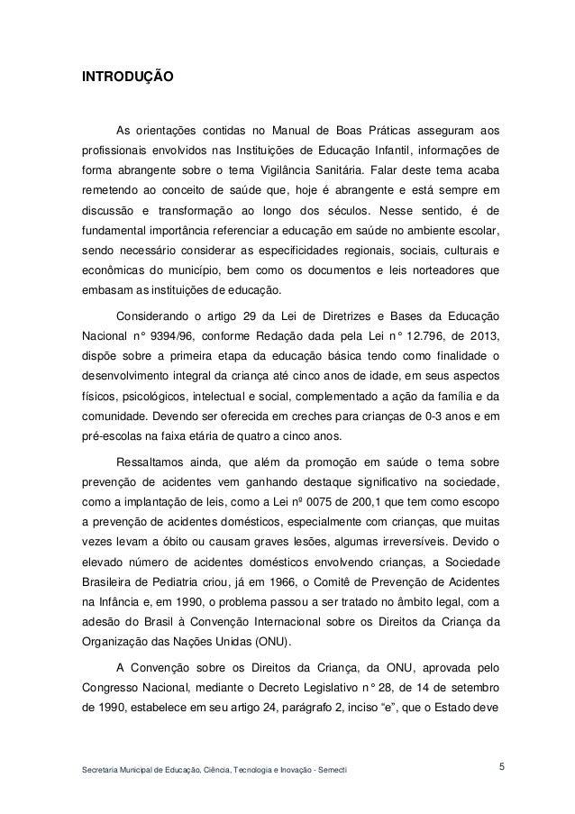 Secretaria Municipal de Educação, Ciência, Tecnologia e Inovação - Semecti  5  INTRODUÇÃO  As orientações contidas no Manu...
