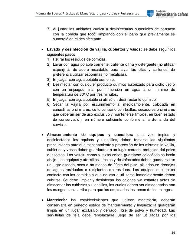 Manual de bpm for Manual de procedimientos de alimentos y bebidas de un hotel