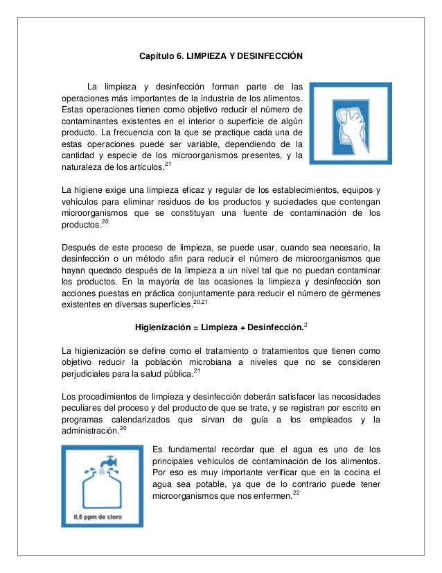 Manual de buenas practicas de higiene y sanidad for Limpieza y desinfeccion de alimentos