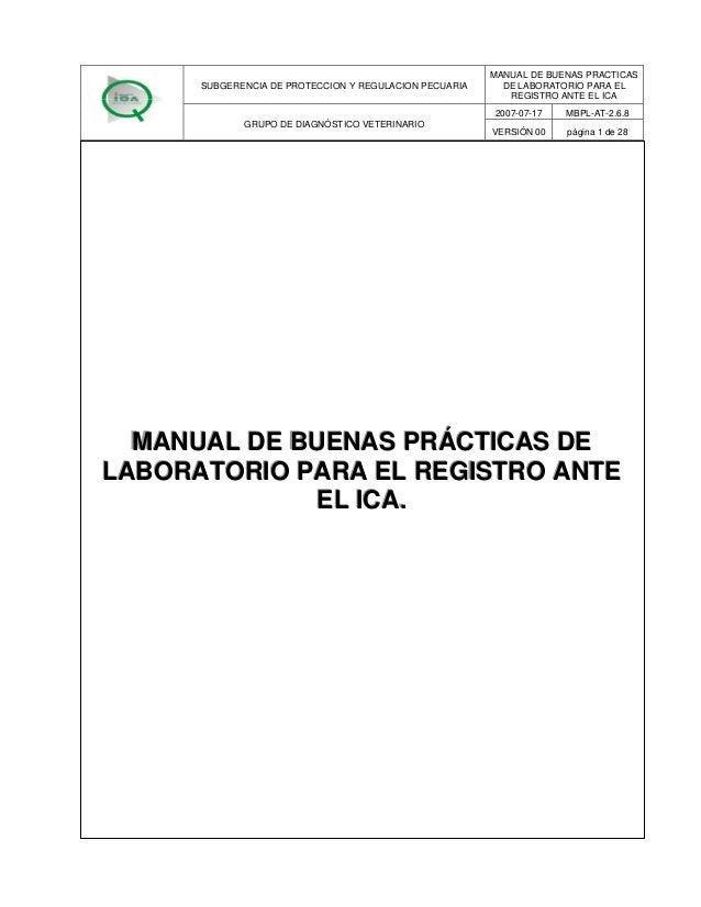 MANUAL DE BUENAS PRACTICAS      SUBGERENCIA DE PROTECCION Y REGULACION PECUARIA     DE LABORATORIO PARA EL                ...