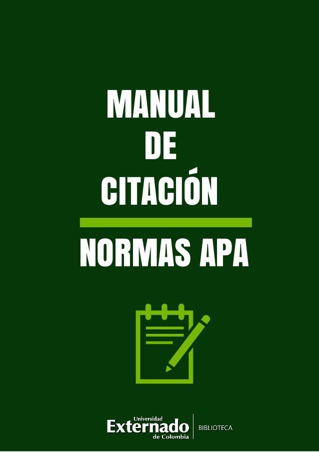 MANUAL DE NORMAS APA CITACIÓN