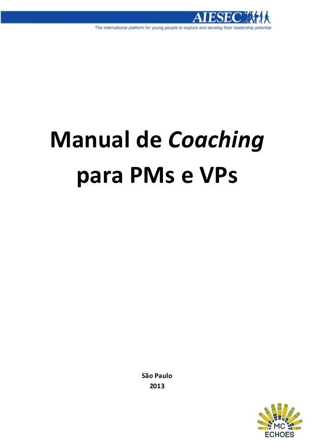 Manual de Coaching para PMs e VPs  São Paulo 2013