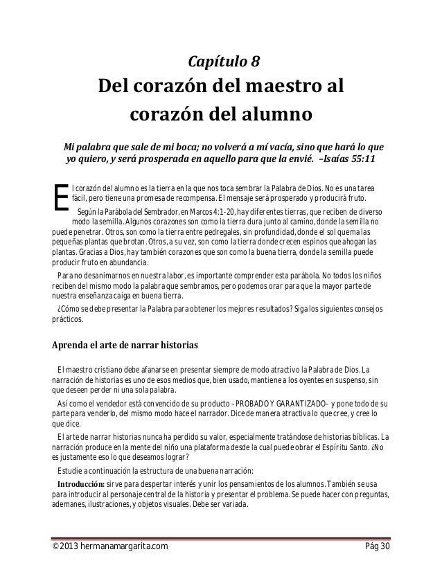 ©2013 hermanamargarita.com Pág 31 Ejemplos: (1) Hoy les voy a contarla historia de David yGoliat. (2) Imaginemos un campo ...