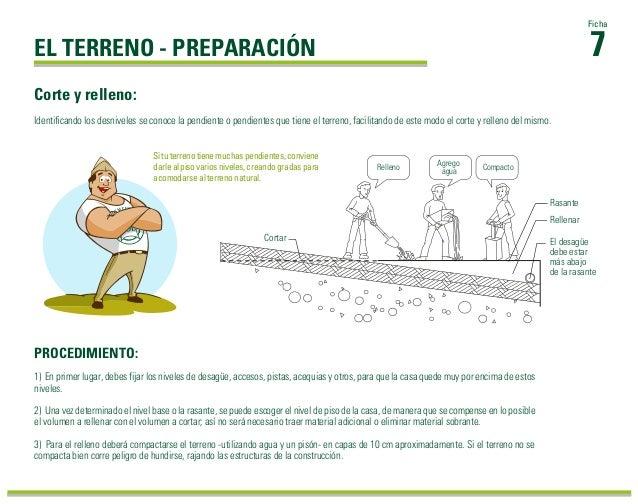 1) En primer lugar, debes fijar los niveles de desagüe, accesos, pistas, acequias y otros, para que la casa quede muy por ...