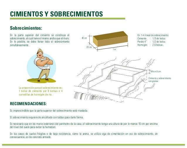 Sobrecimientos: CIMIENTOS Y SOBRECIMIENTOS RECOMENDACIONES: Es imprescindible que la parte superior del sobrecimiento esté...