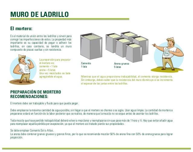 MURO DE LADRILLO El mortero debe ser trabajable y fluido para que pueda pegar. Debe emplearse la máxima cantidad de agua po...
