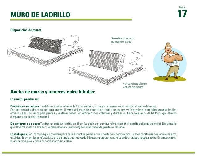 MURO DE LADRILLO Los muros pueden ser: Portantes o de cabeza: Tendrán un espesor mínimo de 25 cm (es decir, su mayor dimen...