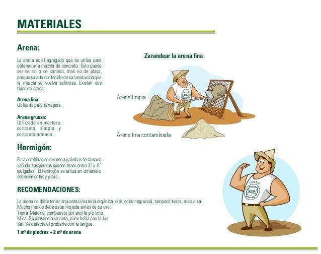 MATERIALES La arena es el agregado que se utiliza para obtener una mezcla de concreto. Solo puede ser de río o de cantera,...