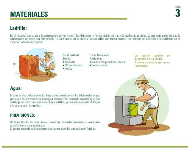 3 Ficha MATERIALES Agua: El agua es otro de los elementos base para la construcción. Esta debe estar limpia, por lo que se...