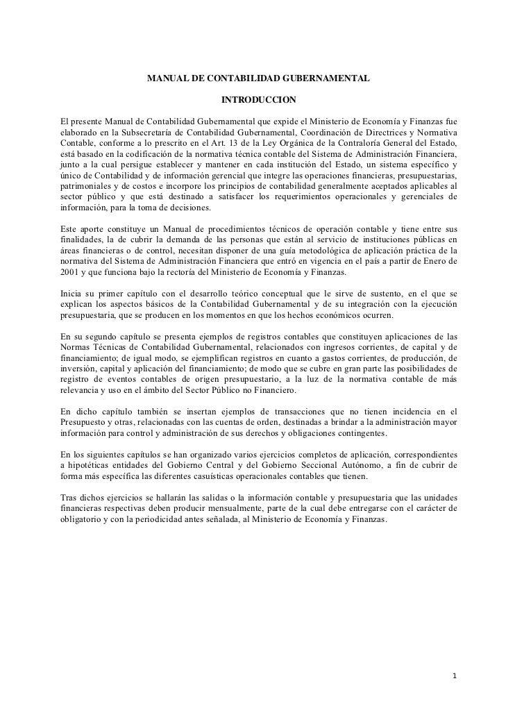 MANUAL DE CONTABILIDAD GUBERNAMENTAL                                           INTRODUCCIONEl presente Manual de Contabili...