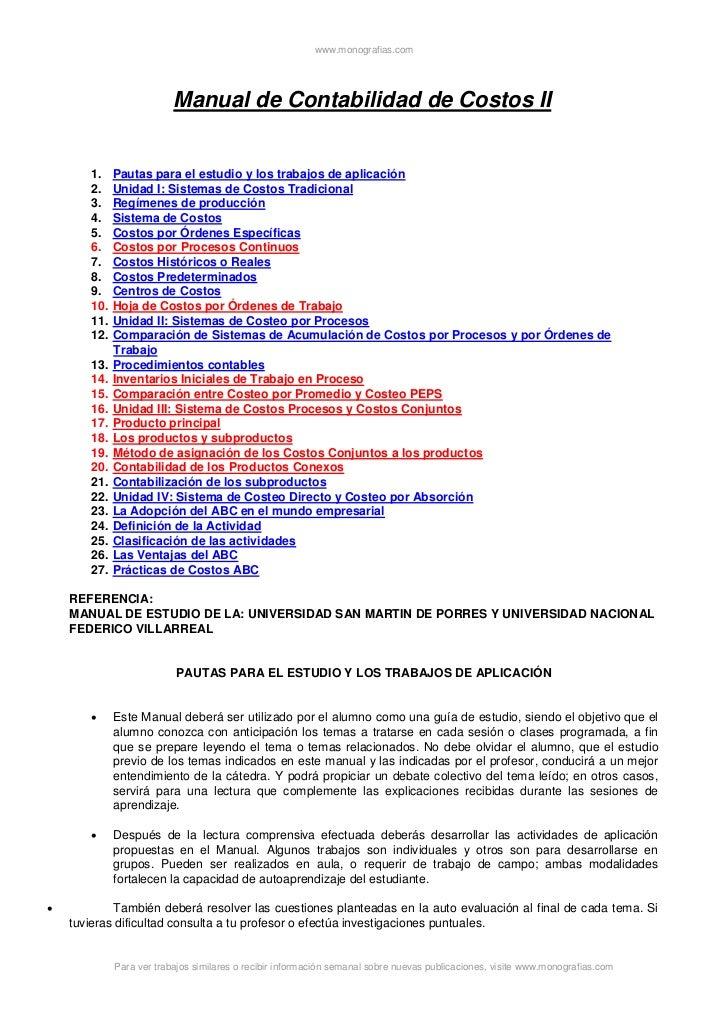 www.monografias.com                          Manual de Contabilidad de Costos II       1.    Pautas para el estudio y los ...