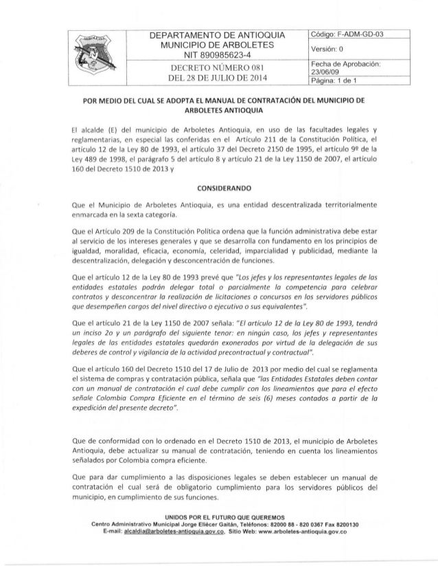 Manual de contratación Arboletes-Antioquia.