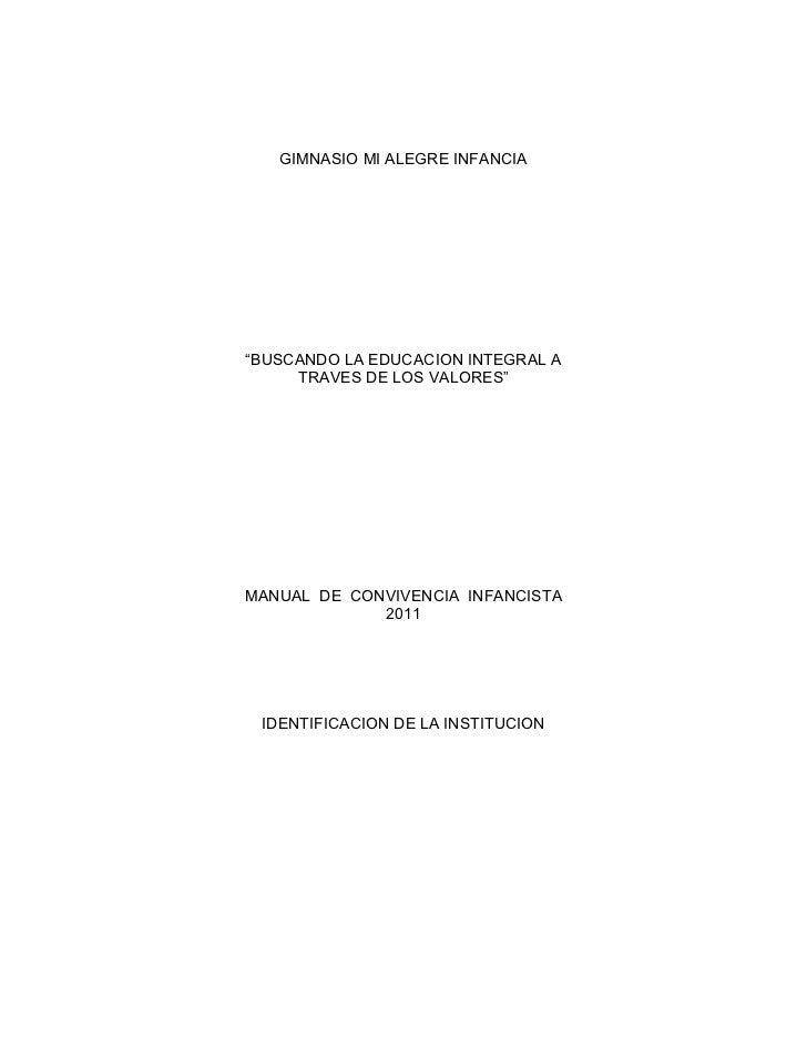 """GIMNASIO MI ALEGRE INFANCIA""""BUSCANDO LA EDUCACION INTEGRAL A     TRAVES DE LOS VALORES""""MANUAL DE CONVIVENCIA INFANCISTA   ..."""