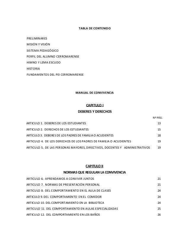 TABLA DE CONTENIDO PRELIMINARES MISIÓN Y VISIÓN SISTEMA PEDAGÓGICO PERFIL DEL ALUMNO CERROMARENSE HIMNO Y LEMA ESCUDO HIST...
