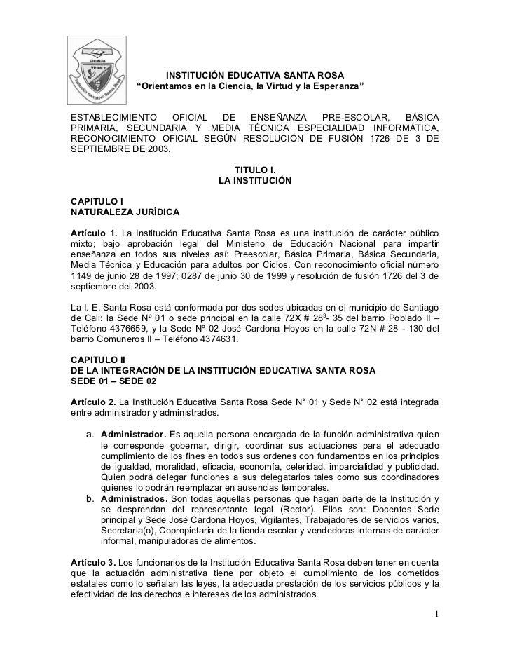 """INSTITUCIÓN EDUCATIVA SANTA ROSA                """"Orientamos en la Ciencia, la Virtud y la Esperanza""""ESTABLECIMIENTO     OF..."""