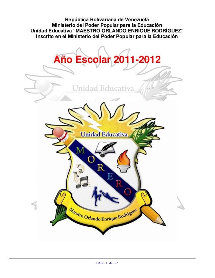 """República Bolivariana de Venezuela         Ministerio del Poder Popular para la EducaciónUnidad Educativa """"MAESTRO ORLANDO..."""