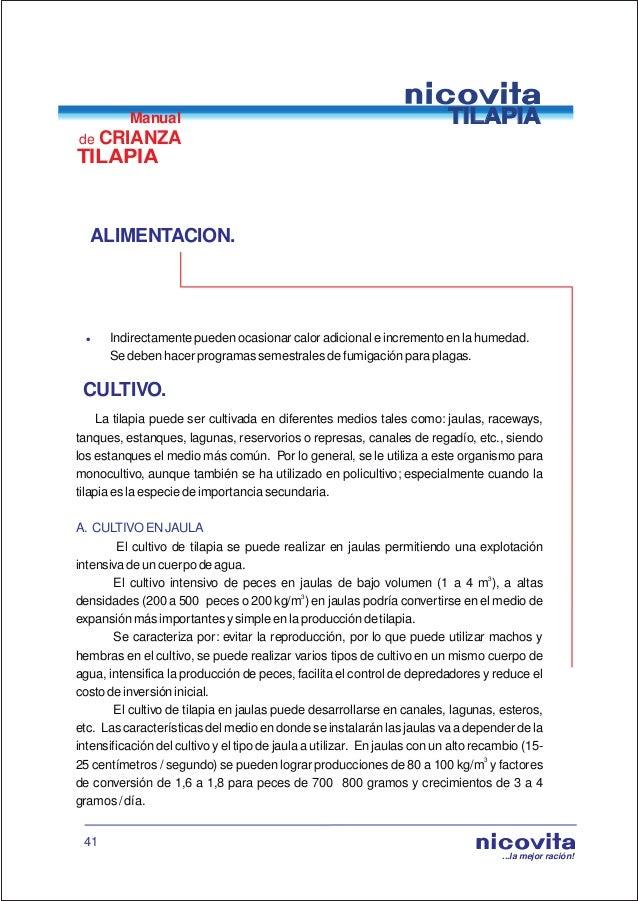 Manual de crianza de tilapia for En cuanto tiempo se cosecha la tilapia