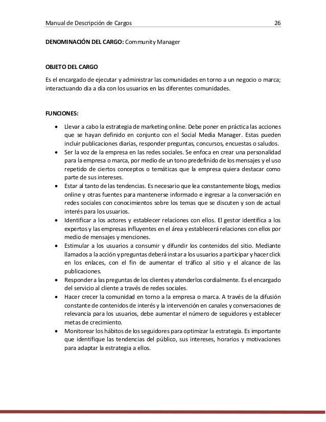Manual De Descripcion De Cargos Para Una Empresa De Desarrollo De Sof