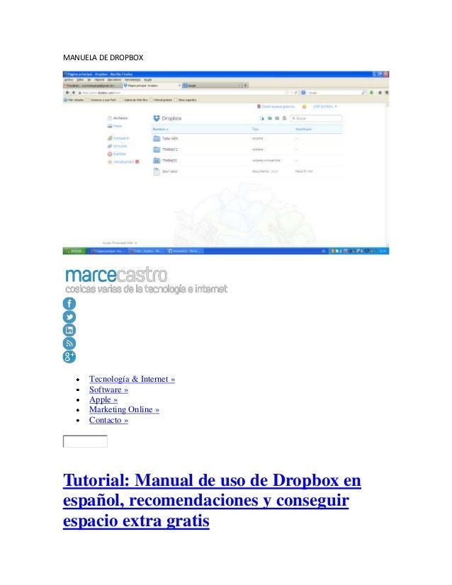 manual de dropbox rh es slideshare net manual de uso dropbox en español Facebook En Espanol De Mexico