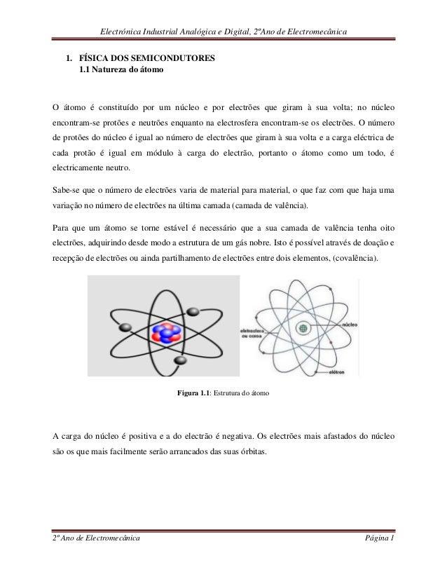 Electrónica Industrial Analógica e Digital, 2ºAno de Electromecânica 2º Ano de Electromecânica Página 1 1. FÍSICA DOS SEMI...