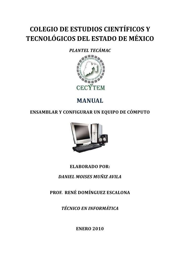 COLEGIO DE ESTUDIOS CIENTÍFICOS Y TECNOLÓGICOS DEL ESTADO DE MÉXICO                PLANTEL TECÁMAC                       M...