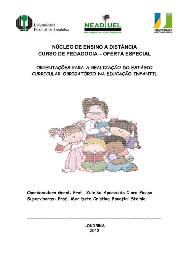 NÚCLEO DE ENSINO A DISTÂNCIACURSO DE PEDAGOGIA – OFERTA ESPECIALORIENTAÇÕES PARA A REALIZAÇÃO DO ESTÁGIOCURRICULAR OBRIGAT...