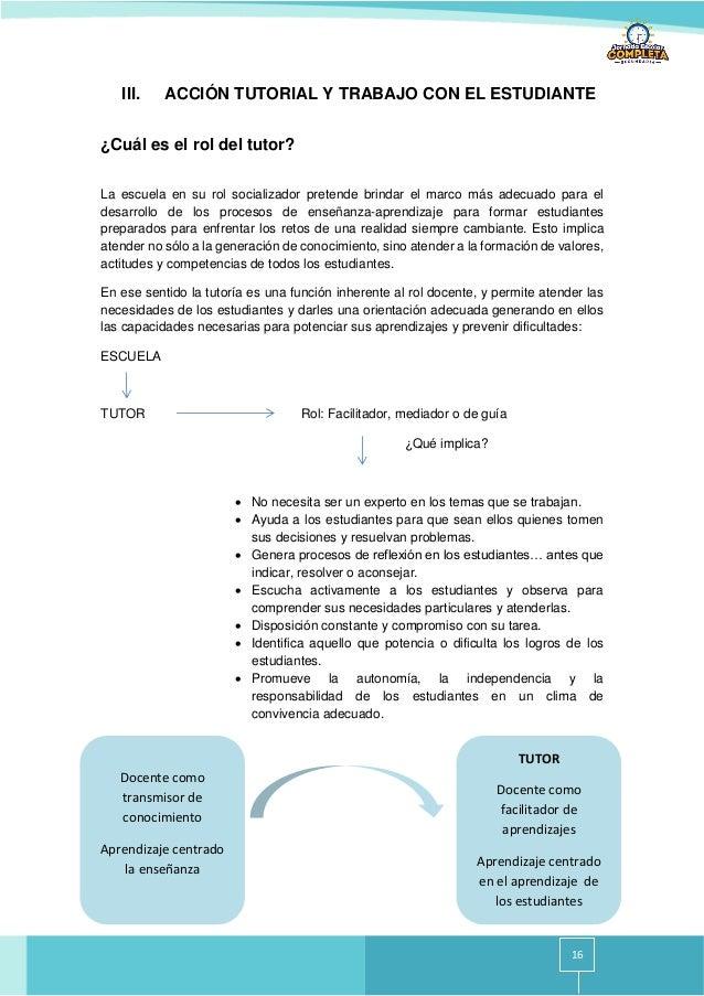 16 III. ACCIÓN TUTORIAL Y TRABAJO CON EL ESTUDIANTE ¿Cuál es el rol del tutor? La escuela en su rol socializador pretende ...