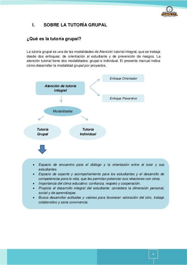 4 I. SOBRE LA TUTORÍA GRUPAL ¿Qué es la tutoría grupal? La tutoría grupal es una de las modalidades de Atención tutoríal i...