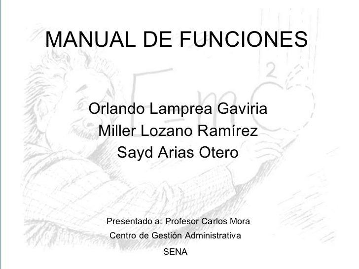 MANUAL DE FUNCIONES Orlando Lamprea Gaviria Miller Lozano Ramírez Sayd Arias Otero Presentado a: Profesor Carlos Mora Cent...