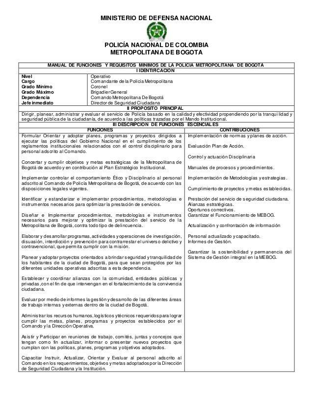MINISTERIO DE DEFENSA NACIONAL POLICÍA NACIONAL DE COLOMBIA METROPOLITANA DE BOGOTA MANUAL DE FUNCIONES Y REQUISITOS MINIM...
