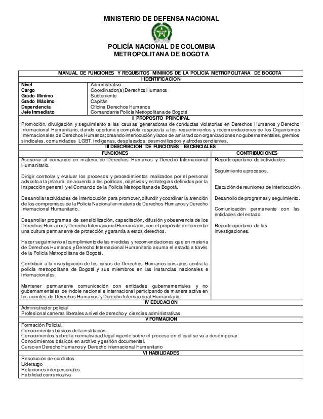 Manual de funciones for Ministerio de policia nacional