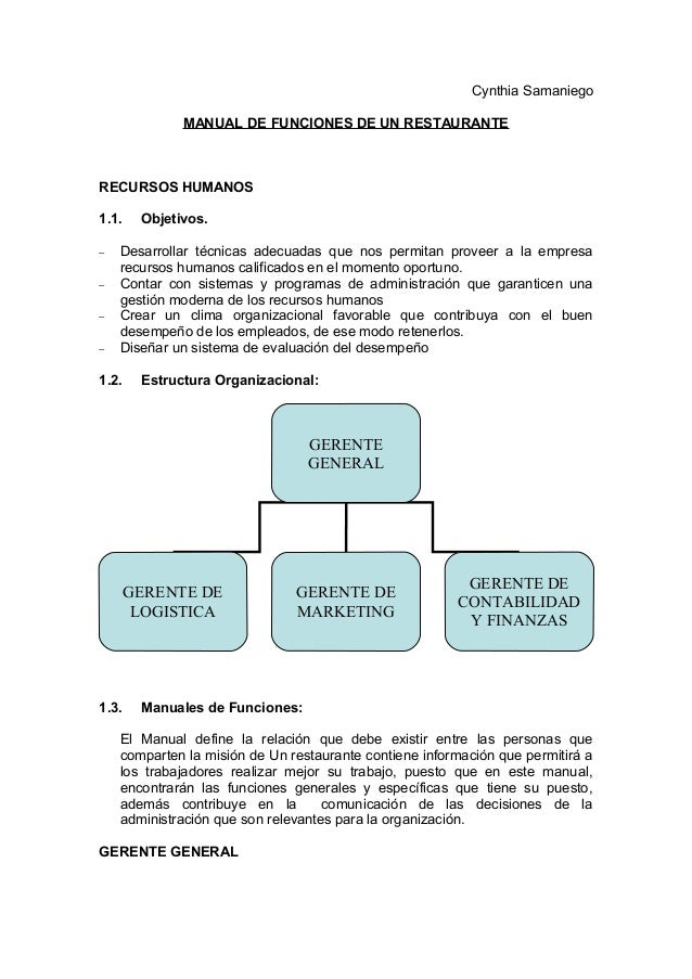 Manual de funciones for Manual de procedimientos de un restaurante