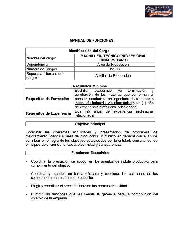 MANUAL DE FUNCIONES  Identificación del Cargo  Nombre del cargo: BACHILLER/ TECNICO/PROFESIONAL  UNIVERSITARIO  Dependenci...