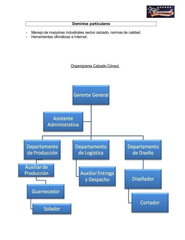 Dominios particulares  - Manejo de maquinas industriales sector calzado, normas de calidad.  - Herramientas ofimáticas e I...