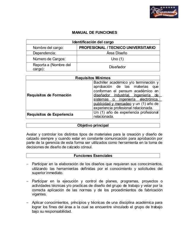MANUAL DE FUNCIONES  Identificación del cargo  Nombre del cargo: PROFESIONAL / TECNICO UNIVERSITARIO  Dependencia: Área Di...