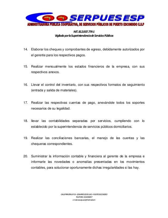Manual de funciones servicios publicos