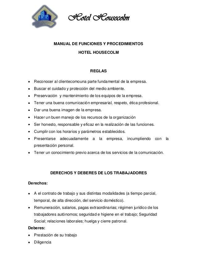 Manual de funciones y procedimientos for Manual de funciones de un restaurante pdf